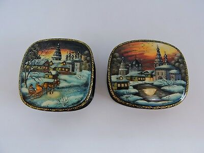 Rare Russian Lacquer and hand painted boxes from the village of Fedoskino-signed