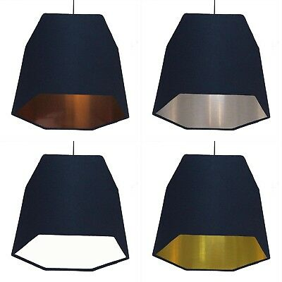 Hexagon Lampshade Navy Blue Geometric Metallic Lined Lining Copper Silver Gold