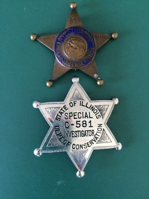 Lot of Two Illinois Game Warden Badges