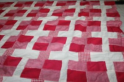 Vintage Quilt Top Small Red and White 32 x 41 inches