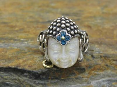 Barbara Bixby Sterling Silver 18K Gold Carved Mother-of-Pearl Buddha Ring