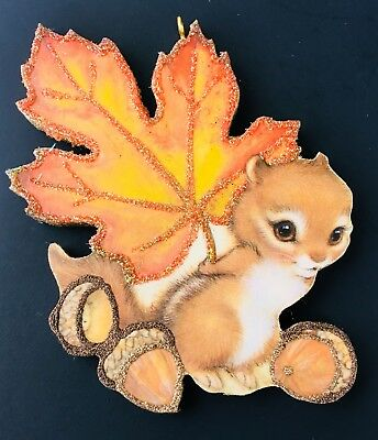 HALLOWEEN FALL CHIPMUNK WITH ACORN TREASURE Glittered Ornament Greeting Card