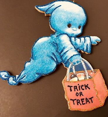 HALLOWEEN SPOOKY GHOST TRICK OR TREAT Glittered Greeting Card Ornament