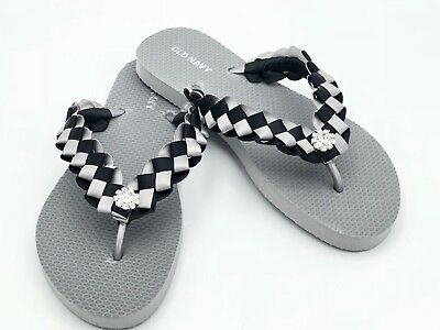 2def104adc0c Oakland Raiders inspired Custom Flip Flops - Old Navy Silver NEW!