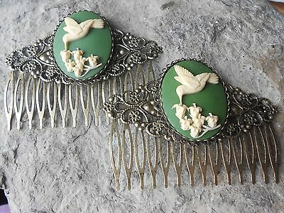 Choose Color - Pair Of Lily Of The Valley Cameo Bronze Filigree Hair Combs