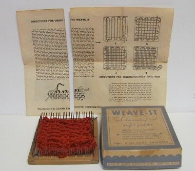 Vintage Weave It Wooden Hand Loom Metal Needle Instructions Box