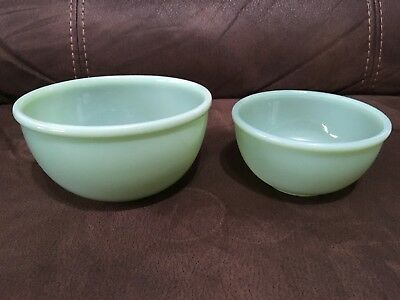 "Fire King Jadeite Beaded Edge 4 7/8"" + 6"" Mixing Bowl Oven Ware Set"