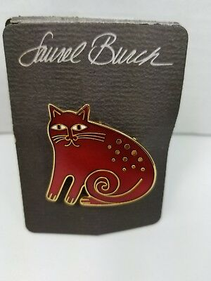 """Vintage 1980's Laurel Burch Signed Red """"Keshire Cat"""" Pin/Pendant, Mint Condition"""