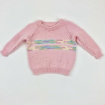 Vintage Handmade Crew Neck Long Sleeve Pink Knit Sweater Toddler 2T