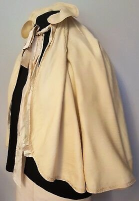 Antique Ecru Capelet/Victorian Or Edwardian Evening Wrap/Cape W/Turkey Stitching