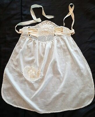 Edwardian/Flapper Era Apron/Antique Dress Protector Crochet/Peach Silk