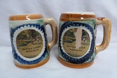 Vintage Outdoor Wooded Scene Mugs Salt and Pepper Shakers Japan Hand Painted