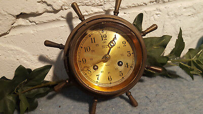 Salem Ships Bell 8 Day Jeweled Clock Brass Antique Germany....Keeps Time