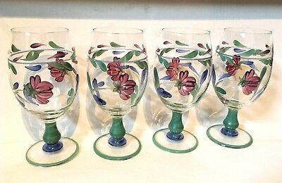 LENOX Poppies on Blue HTF Hand-Painted Glass 16oz WINE & WATER Glasses, Goblets