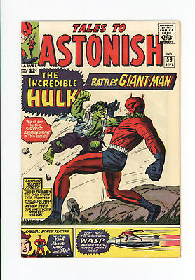 TALES TO ASTONISH #59 - HULK vs GIANT-MAN & WASP! - BEAUTIFUL VF 8.0 to VF+ 8.5