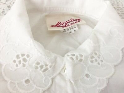 Vintage Storybook Heirlooms Girl's Sz 6 White Blouse Eyelet Collar Puff Sleeves