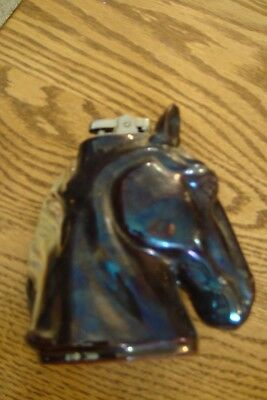 Vintage Black/dark Brown Horse Head Cigarette Lighter Ries Hand Decorated Japan