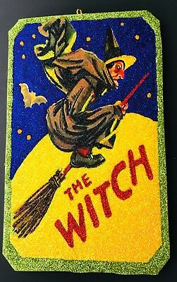 HALLOWEEN HAGGARD WITCH VTG Glittered Ornament Greeting Card