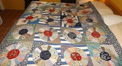 Antique Vintage Quilt Top Dresden Plate Flour Sack Feed Sack NO RESERVE!