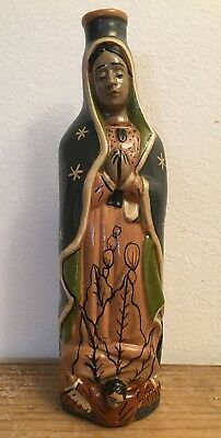 Vintage Mexican Pottery Virgin of Guadalupe Holy Water Bottle