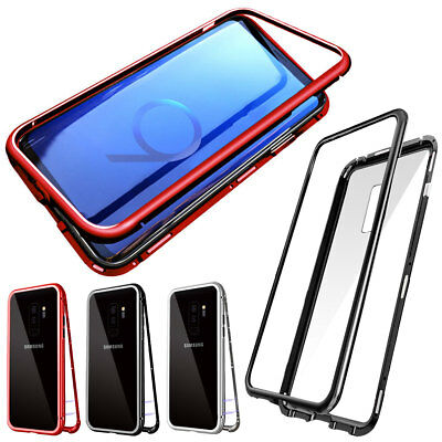 Phone Case Magnetic Metal Tempered Glass Cover For Samsung Galaxy S7 / S7 Edge