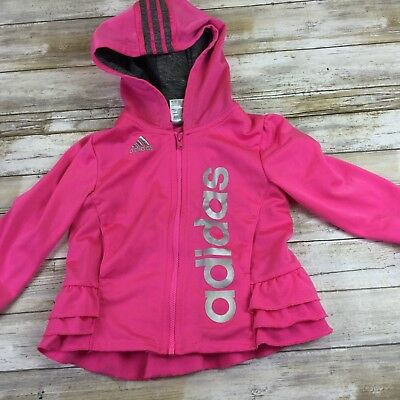 Adidas- Toddler 24 Months - Pink Ruffle Jacket W /hood And Pockets