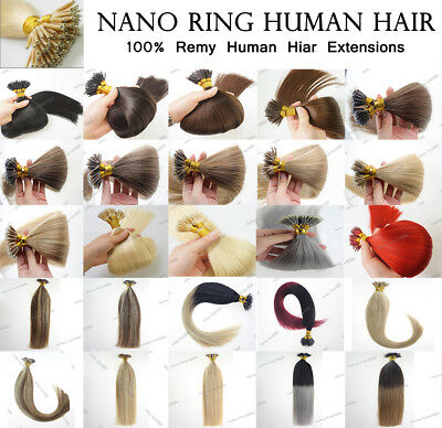 "16""-22"" Nano Ring Tip 1GRAM Micro Bead Human Hair Extensions Double Drawn 1G USA"