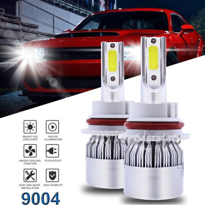 Car LED Headlight Kit 9004 HB1 1300W 195000LM White 2-Side Dual Beam Bulbs 6000K