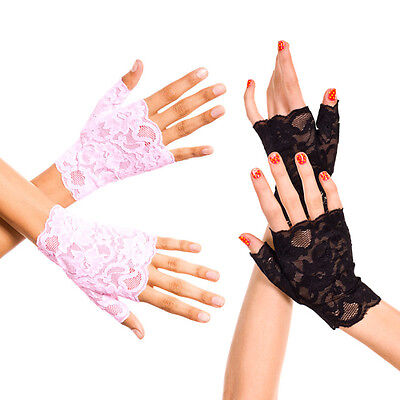 Black Baby Pink Floral Lace Fingerless Wrist Gloves Formal Prom Womens Fashion
