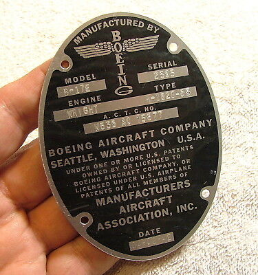 Reproduction BOEING B-17 Data Plate Badge Emblem With Stampings WW2 FREE SHIP