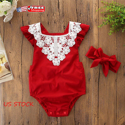 Newborn Baby Girls Lace Flower Romper Jumpsuit Sunsuit Headband Clothes Outfits