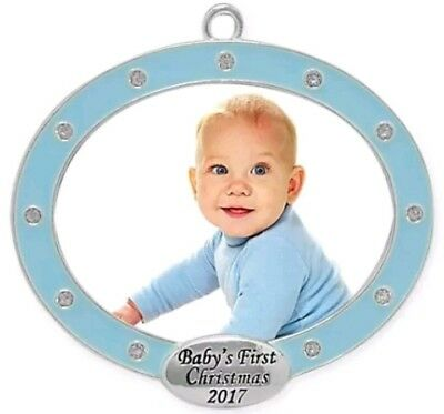 Harvey Lewis baby's first Christmas 2017 blue frame ornament Boy crystals