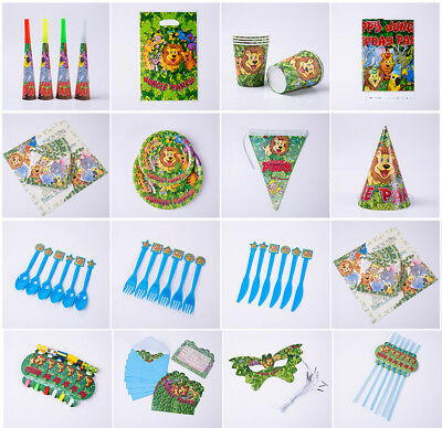 Forest Jungle Kids Birthday Party Tableware Hats Masks Banners Plates Blowouts