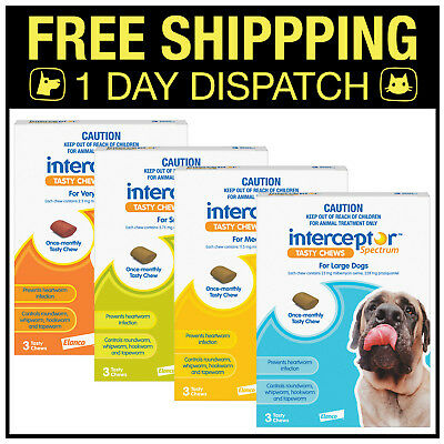 Interceptor Spectrum Heartworm, Wormer For Dogs 3 Chews - All sizes
