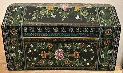 Vintage Mexican Folk Art Black Lacquered Box Chest Olinala #2