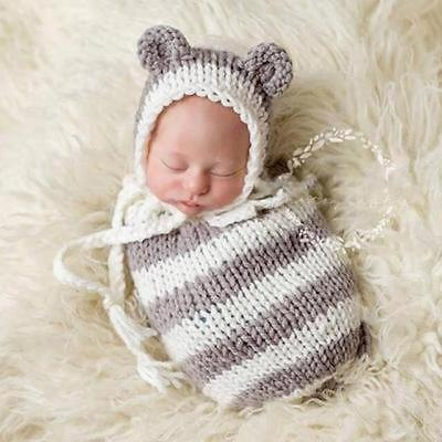 Grey and cream Newborn Knit Swaddle Sack Cocoon and Hat sets Cocoon Photo Props