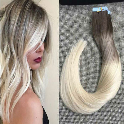 Tape In Black To Ash Blonde Balayage Skin Weft Human Hair Extensions