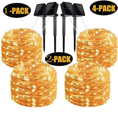 100/200LED Outdoor Solar Powered Copper Wire Light String Fairy Xmas Party 1-4PK