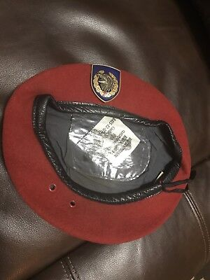 Serbian Red Beret With JSO Crest.