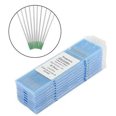 10Pcs 1.0/1.6/2.0/2.4/3.2mm TIG Welding Pure Tungsten Electrodes WP Green Tip SD