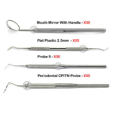 120Pcs Dental Hygienist Examination Periodontal Probes Mouth Mirror Flat Plastic
