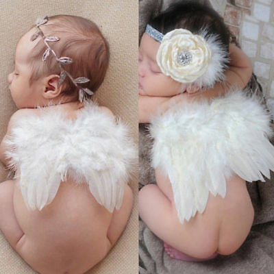Newborn Baby Kid White Angel Wings Leaf Headband Photography Costume Photo Props