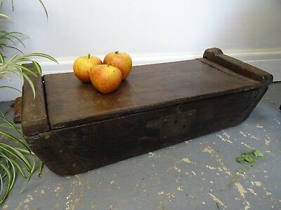 Antique Indian Rice  Box  Small Chest One Piece of Wood