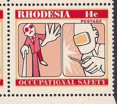 Rhodesia: 1975: Occupational Safety, cyl 1B blocks of 4 with broken 'ON' flaw.