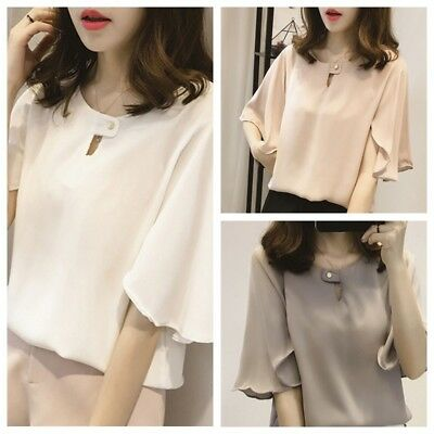Summer Women Short Sleeve Loose Blouse Top Chiffon Casual Shirt Korean M-4XL HOT