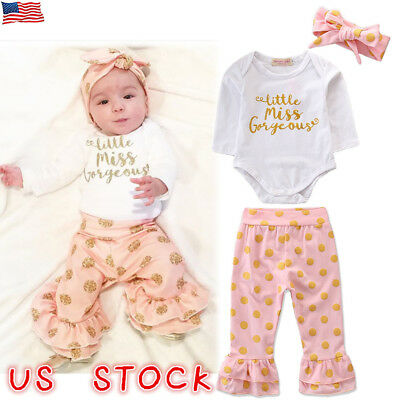 US Newborn Baby Girl Floral Clothes Romper Tops Jumpsuit Pants Headband Outfits