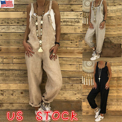 Women's Casual Loose Sleeveless Jumpsuit Dungarees Playsuit Trousers Overalls US