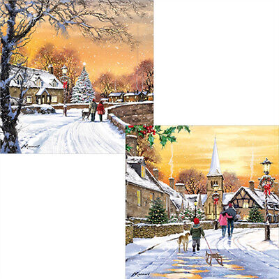 Luxury Christmas Cards Pack of 10 Traditional Village Glitter Snow Xmas Cards