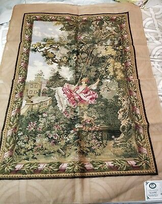 "QUEEN ADELAIDE RARE Trammed TAPESTRY CANVAS & WOOL, 58"" x 40"" A420"