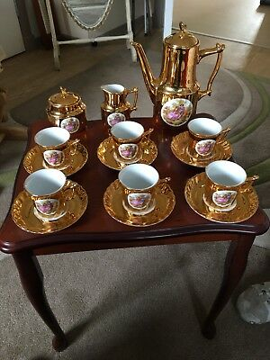 Fragonard Gold Tea/coffee Set, Milk Jug, Sugar Bowl, 6 Cups And Saucers, Teapot